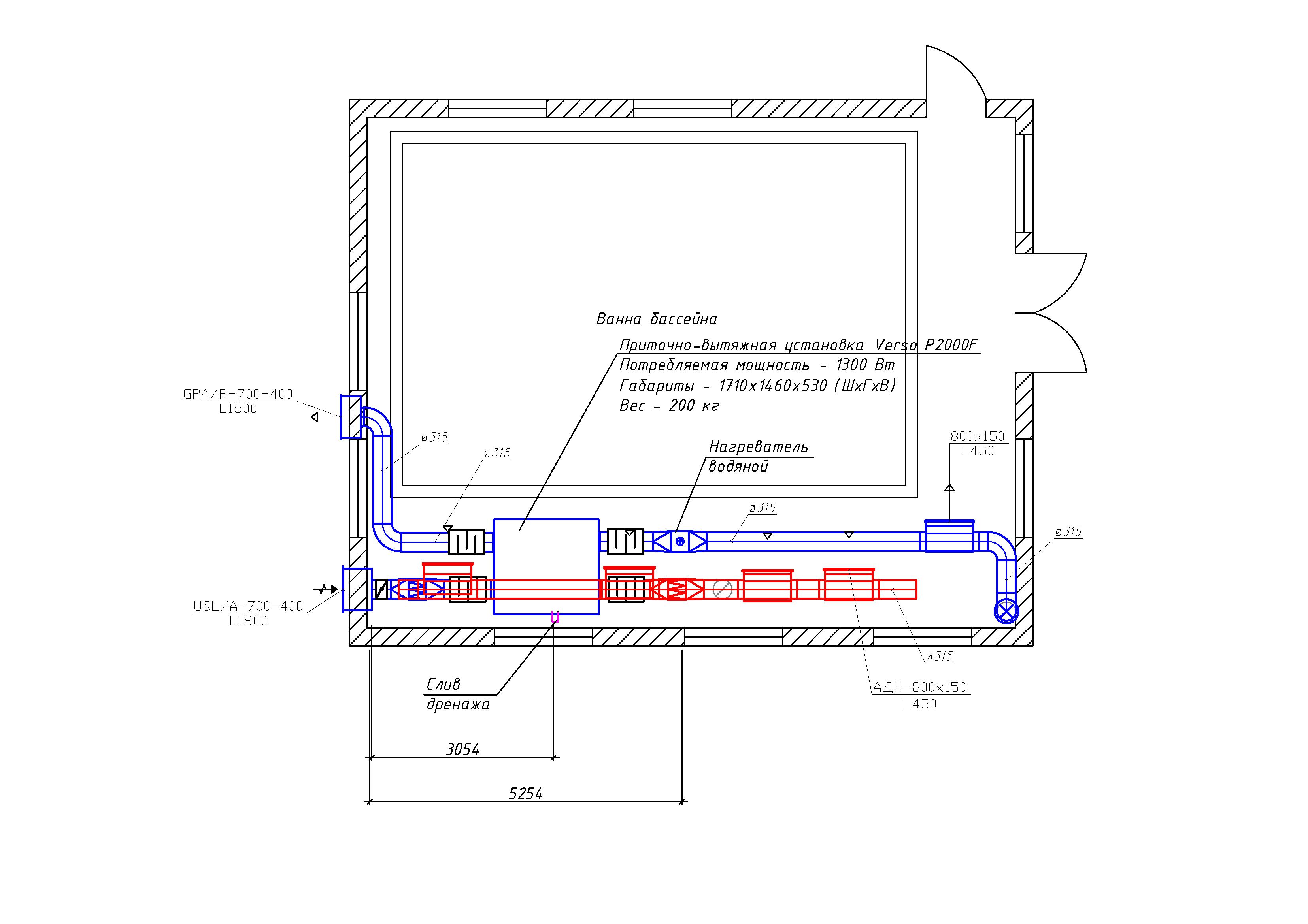 Вентиляция бассейнов схемы